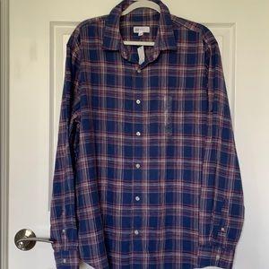 NWT Gap Linen  Blend Plaid Button Down Shirt